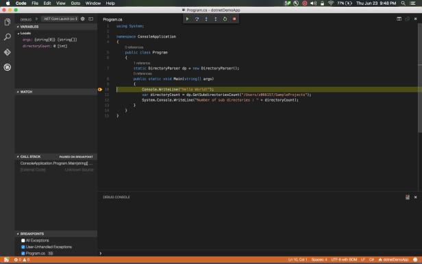 breakpoint in vscode